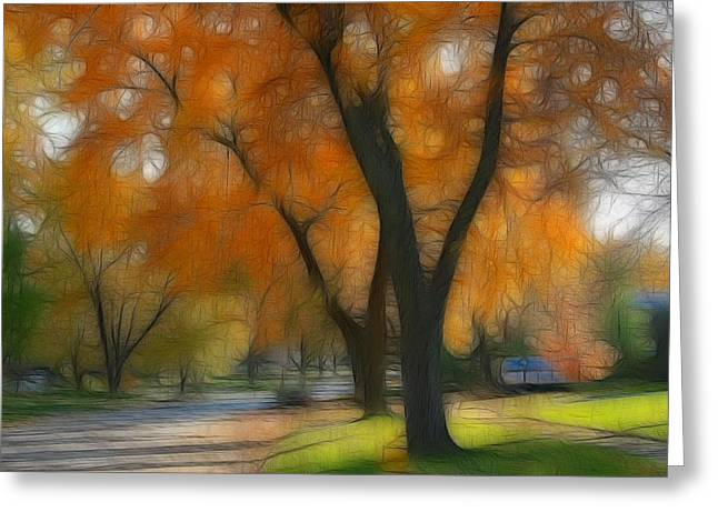 Lyle Hatch Greeting Cards - Memory of an Autumn Day Greeting Card by Lyle Hatch