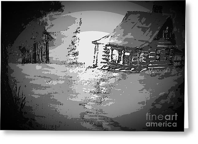 Hunting Cabin Digital Art Greeting Cards - Memory of the Cabin Greeting Card by Cindy  Riley