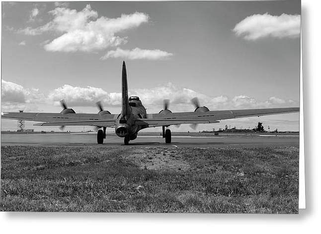 Memphis Belle Bw Greeting Card by Peter Chilelli