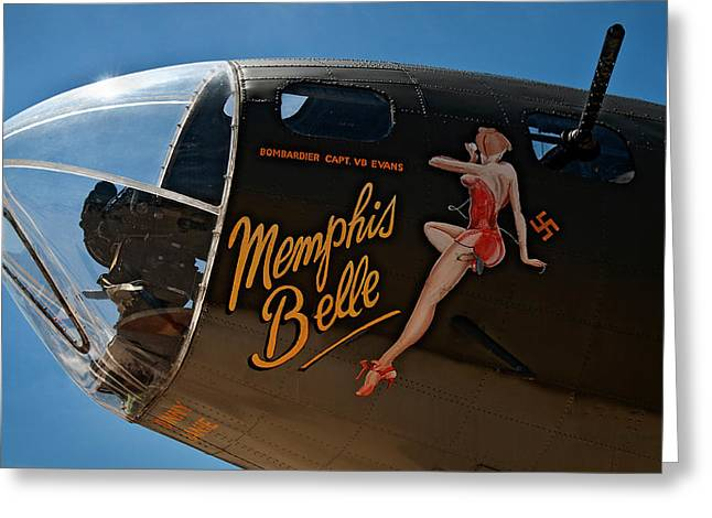 Memphis Belle Nose Art Greeting Card by Murray Bloom