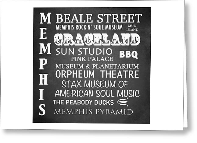 Tennessee Landmark Digital Greeting Cards - Memphis Famous Landmarks Greeting Card by Patricia Lintner
