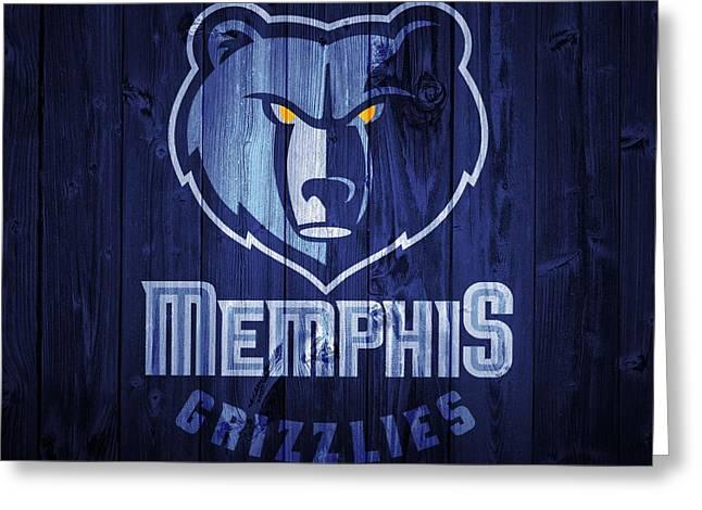 Memphis Grizzlies Barn Door Greeting Card by Dan Sproul