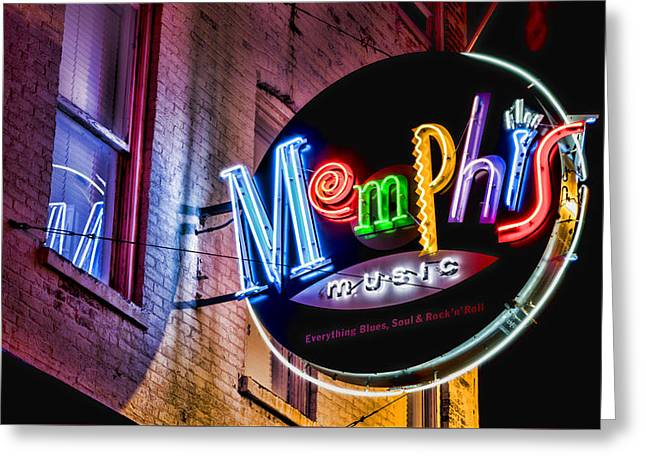 Memphis Neon Greeting Card by Stephen Stookey