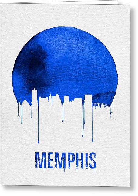 Memphis Skyline Blue Greeting Card by Naxart Studio