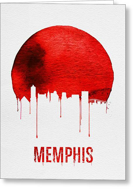 Memphis Skyline Red Greeting Card by Naxart Studio