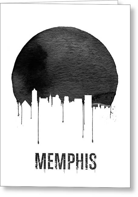 Memphis Skyline White Greeting Card by Naxart Studio
