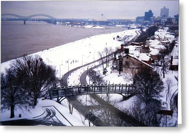 Snowstorm Greeting Cards - Memphis View From My Penthouse Greeting Card by Belinda Lee
