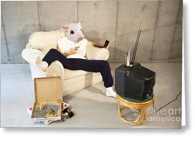 Basement Greeting Cards - Men are pigs Greeting Card by Karen Foley