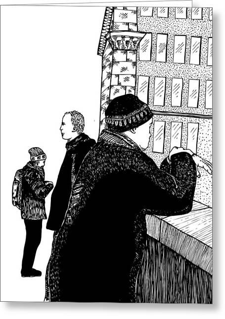Berlin Germany Drawings Greeting Cards - Men At Berlin Bridge Greeting Card by Karl Addison