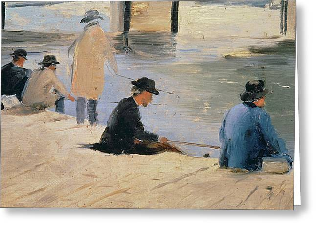 Men Fishing From A Jetty Greeting Card by Georges Pierre Seurat