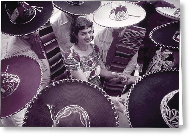Informal Portraits Greeting Cards - Men In Sombreros Surround A Woman Greeting Card by B. Anthony Stewart