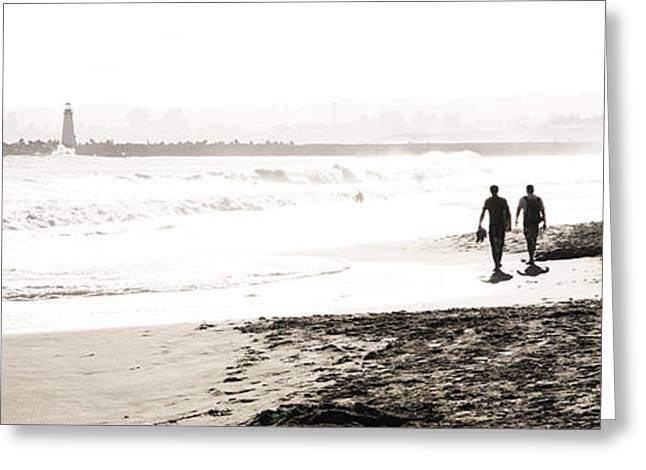 Santa Cruz Greeting Cards - Men on Beach Greeting Card by Marilyn Hunt