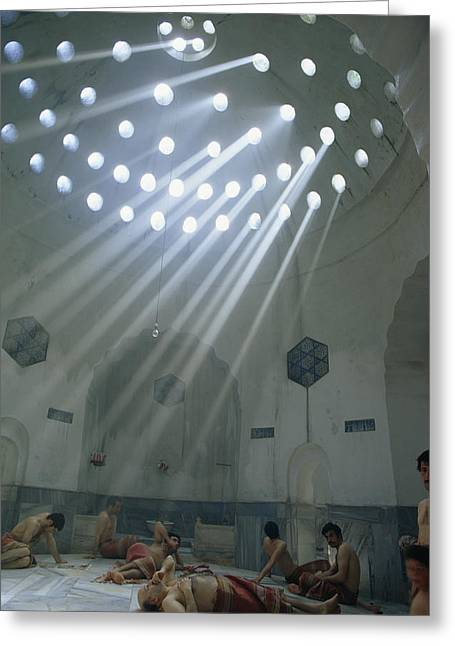 Bathhouse Greeting Cards - Men Relax In The Heat Of A Turkish Bath Greeting Card by Winfield Parks