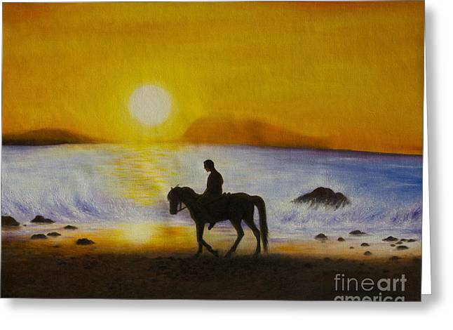 Sea Horse Greeting Cards - Men ride horses on the beach with sunset. Greeting Card by Fineart Photographs