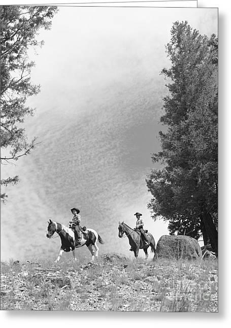 Men Riding Horses, C.1950-60s Greeting Card by D. Corson/ClassicStock