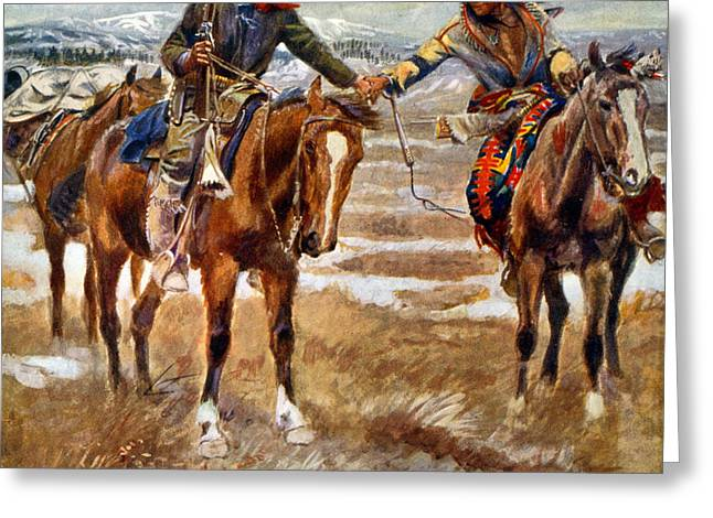 Men Shaking Hands On Horseback Greeting Card by Charles Marion Russell