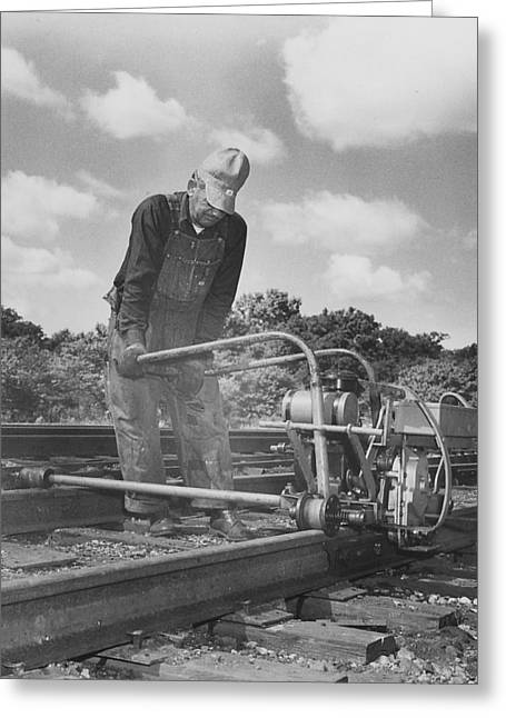 """""""work Crew"""" Greeting Cards - Man Working on Track Greeting Card by Chicago and North Western Historical Society"""