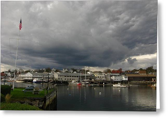New England Ocean Greeting Cards - Menacing Boothbay Harbor Greeting Card by Bill Tomsa