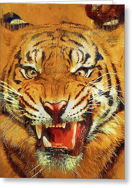 Growling Paintings Greeting Cards - Menacing Tiger Greeting Card by Clarence Alford