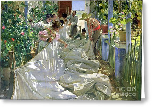 Straw Greeting Cards - Mending the Sail Greeting Card by Joaquin Sorolla y Bastida