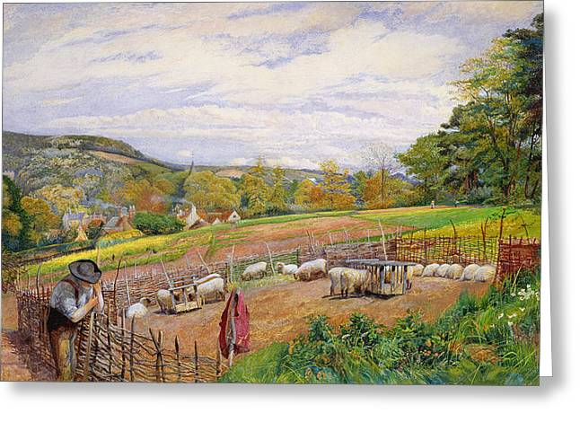 Spring Scenes Greeting Cards - Mending the Sheep Pen Greeting Card by William Henry Millais