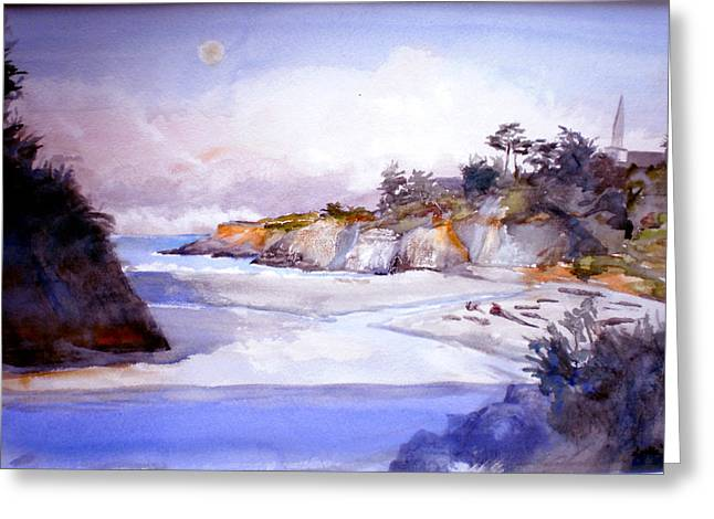 Foggy Beach Paintings Greeting Cards - Mendocino Moonset and Sunrise Greeting Card by Howard Luke Lucas
