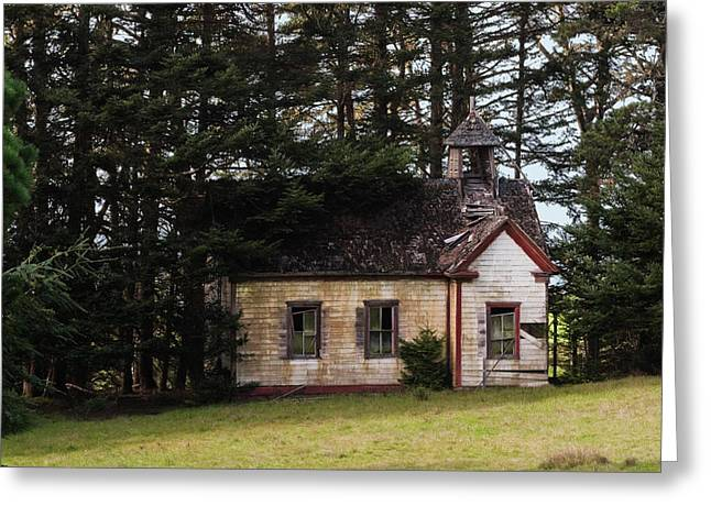 Abandoned School House. Greeting Cards - Mendocino Schoolhouse Greeting Card by Grant Groberg