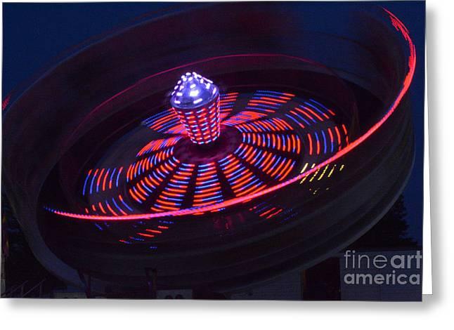 Mendon Greeting Cards - Mendon Carnival Ride - Red Blue Greeting Card by Wayne Sheeler