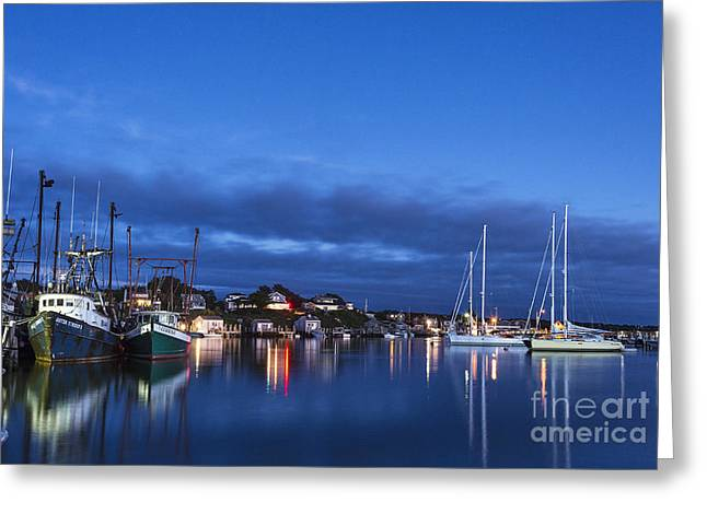 New England Village Greeting Cards - Menemsha Night Greeting Card by John Greim