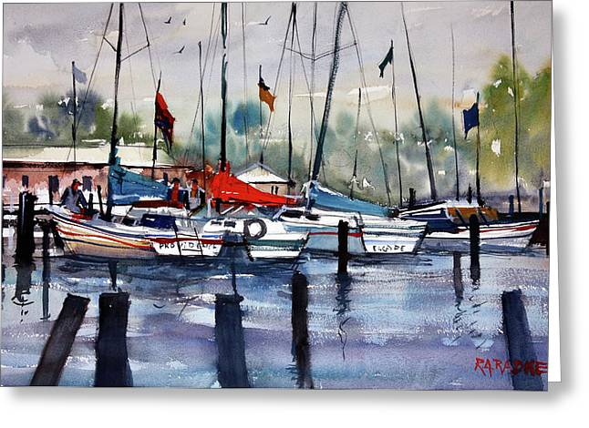 Docked Sailboats Paintings Greeting Cards - Menominee Marina Greeting Card by Ryan Radke