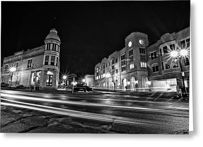 Cj Schmit Greeting Cards - Menomonee and Underwood at Night Greeting Card by CJ Schmit