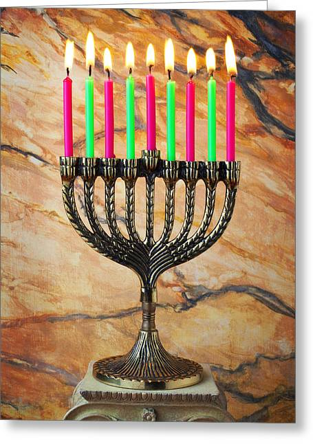 Decorate Greeting Cards - Menorah Greeting Card by Garry Gay