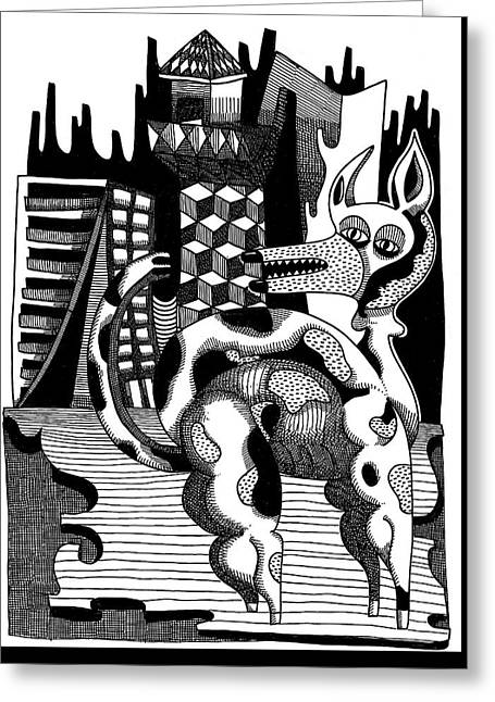 Portal Drawings Greeting Cards - Mental structures and dog Greeting Card by Rafael Trabasso