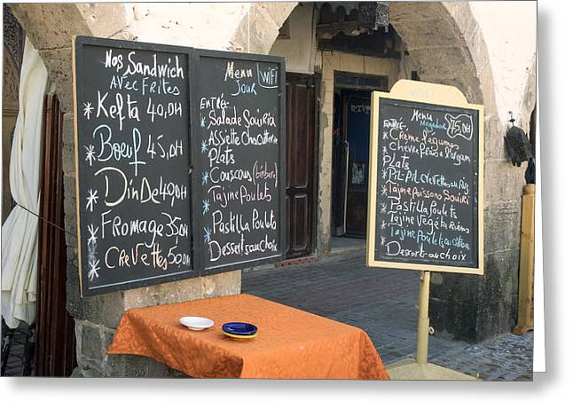 Menu Greeting Cards - Menu Boards In A Square Of Avenue Greeting Card by Panoramic Images