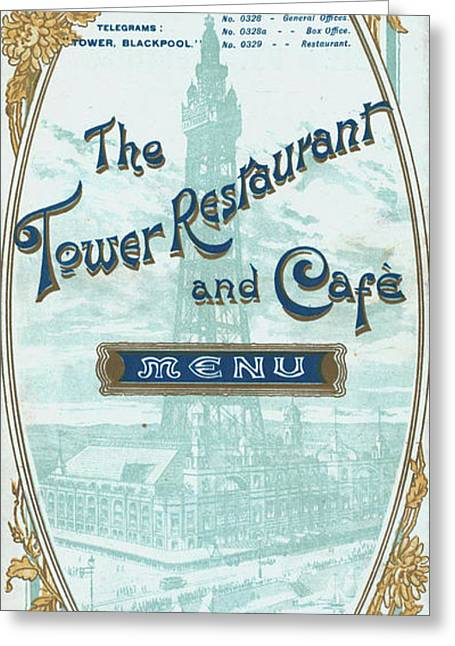 Menu For Lunch At Blackpool Tower Restaurant Greeting Card by English School