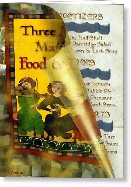 Menu Greeting Cards - Menu from a Medieval Restaurant Greeting Card by RC DeWinter