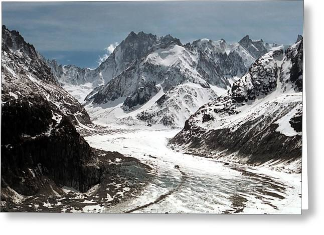 French Leaders Greeting Cards - Mer de Glace - Mont Blanc Glacier Greeting Card by Frank Tschakert