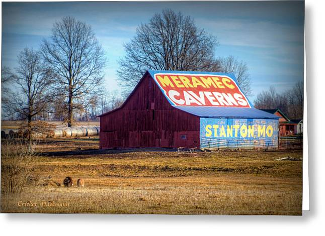 Barn Landscape Photographs Greeting Cards - Meramec Caverns Barn Greeting Card by Cricket Hackmann