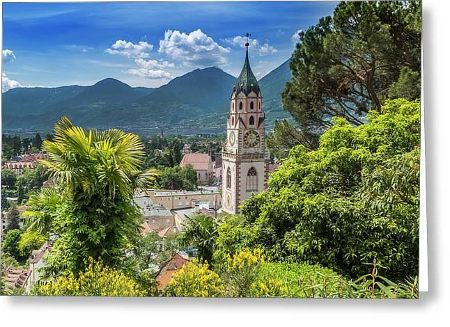 Merano Church Of St Nicholas Greeting Card by Melanie Viola