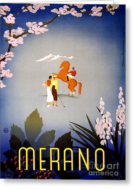 Historical Images Greeting Cards - Merano Italy Vintage Travel Poster Restored Greeting Card by Carsten Reisinger