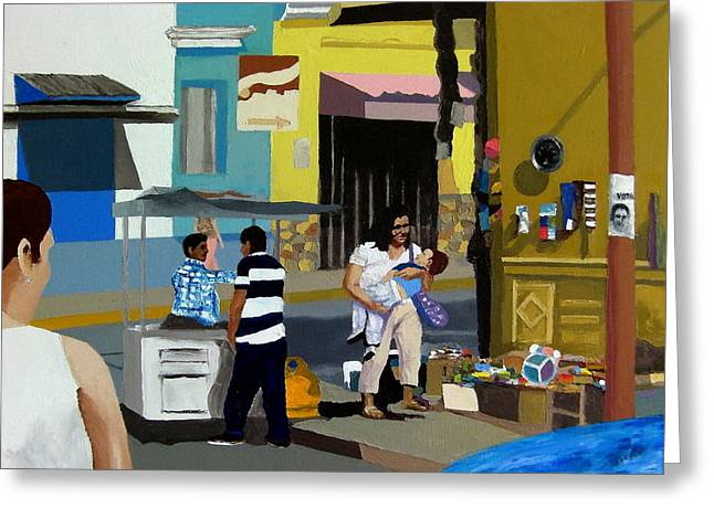 People Paintings Greeting Cards - Mercado 2 Greeting Card by Lowell Smith