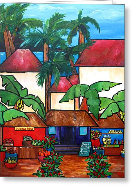 Fruit Tree Art Greeting Cards - Mercado en Puerto Rico Greeting Card by Patti Schermerhorn