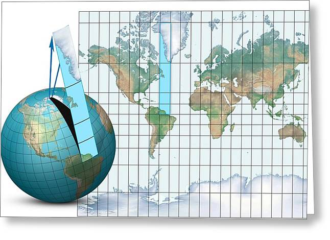 Planet Map Greeting Cards - Mercator Map Projection, Diagram Greeting Card by Claus Lunau