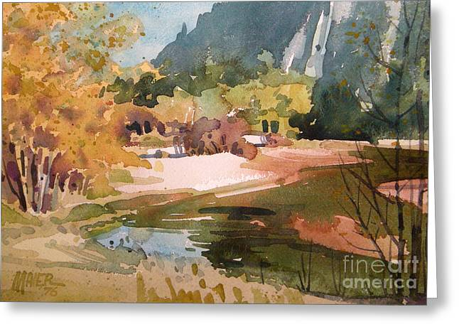 Adam Paintings Greeting Cards - Merced River Encounter Greeting Card by Donald Maier