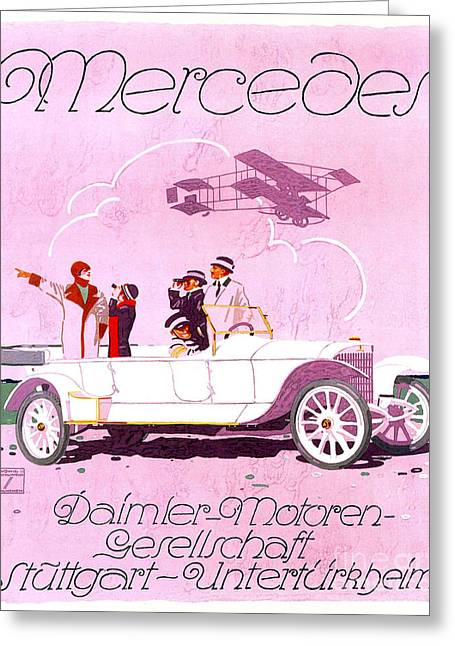 Flapper Greeting Cards - Mercedes Advertising Poster Greeting Card by Jon Neidert