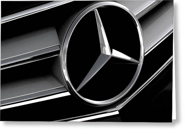 Grill Greeting Cards - Mercedes Badge Greeting Card by Douglas Pittman