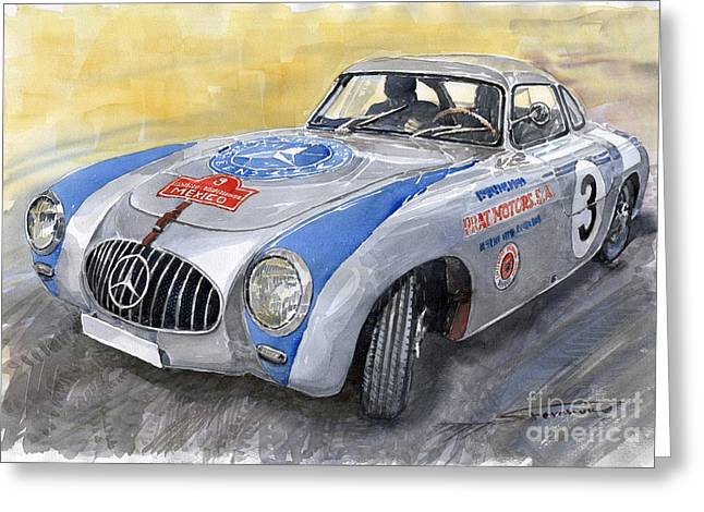 Mercedes Benz. Greeting Cards - Mercedes Benz 300 SL 1952 Carrera Panamericana Mexico  Greeting Card by Yuriy  Shevchuk