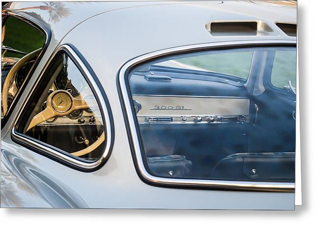 Mercedes-benz 300sl Steering Wheel -0142c Greeting Card by Jill Reger