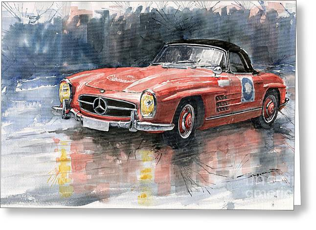Vintage Auto Greeting Cards - Mercedes Benz 300SL Greeting Card by Yuriy  Shevchuk