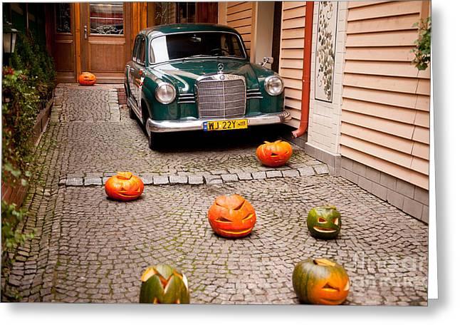 Mercedes Benz Car And Pumpkins Greeting Card by Arletta Cwalina